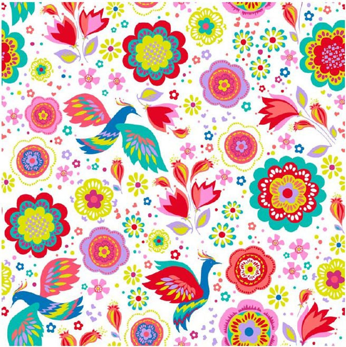 Colourful Retro Flowers Birds Novelty Excellent Quality 100% Cotton Fabric Craft Sewing Clothes Home Decor Extra Wide Per Large Fat Quarter