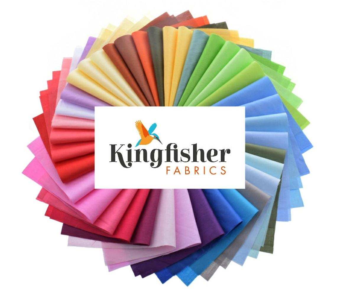 Kingfisher Plain Solid Blender Quilting 100% Cotton Fabric Sewing Clothes Quilts Fat Quarter Half Metre or Metre