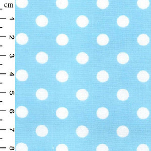 Excellent Quality Sky Blue 7mm Spotty Medium Polka Dot 100% Cotton Poplin Fabric 130gsm Sewing Quilting Craft Home Decor