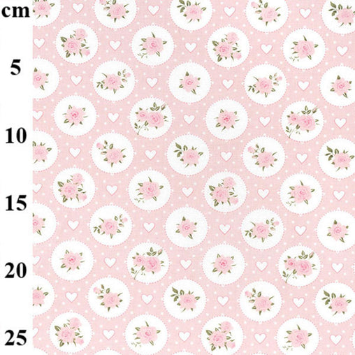 Pretty Pink Flowers and Hearts Design Circle Roses Love Valentines 100% Cotton Poplin Fabric 130gsm Sewing Quilting Craft Home Decor