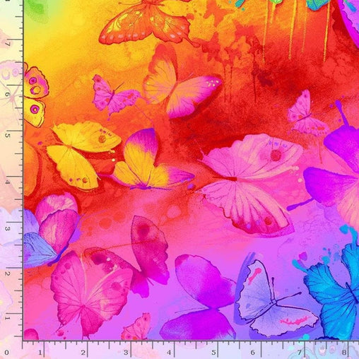 Colourful Painted Rainbow Butterflies Spirit Novelty Kids Black Quilting Craft Cotton Fabric Fat Quarter Decor Sewing Timeless Treasures