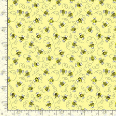Swirling Bees on Yellow Novelty Fat Quarter Cotton Fabric by Timeless Treasures (UK)