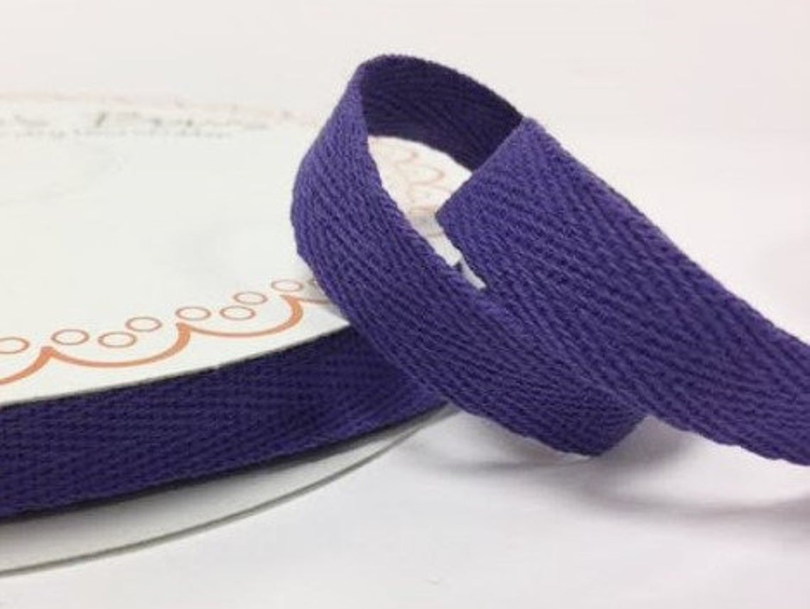 2 metres Purple 15mm Cotton Herringbone Tape Webbing Ribbon Craft Sewing