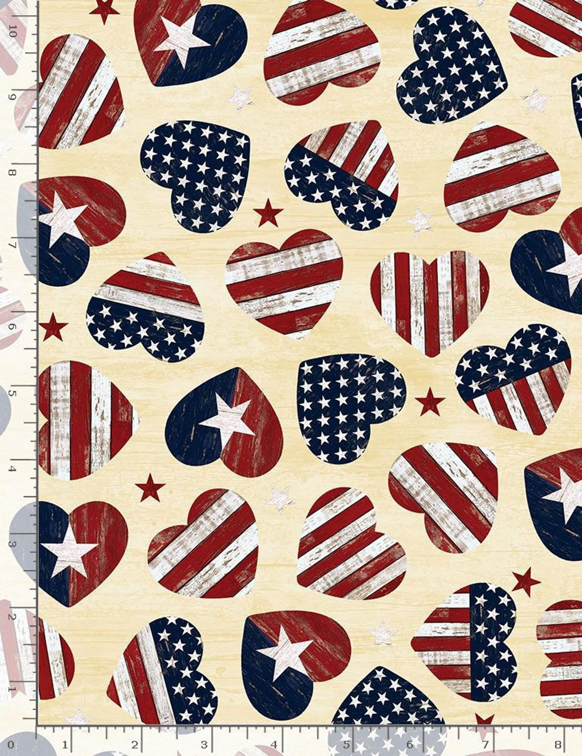 USA Vintage Cream Red Blue Hearts Stars United States of America Fat Quarter Cotton Fabric by Timeless Treasures (UK)
