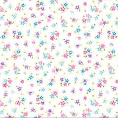 Pink, Purple & Blue Petit Flowers Novelty Excellent Quality 100% Cotton Fabric Craft Sewing Clothes Home Decor Wide Per Large Fat Quarter