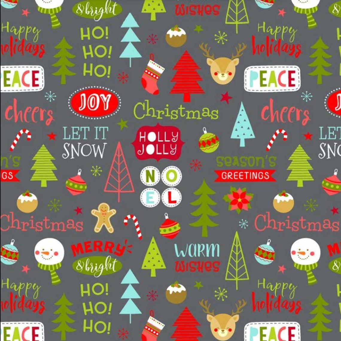 "Christmas Novelty Trees Ho! Let it Snow Stocking Baubles Gingerman Excellent Quality 100% Cotton Fabric Craft Sewing 60"" Wide Per Metre"