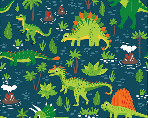 "Dinosaur Boys/Girls Navy Kids Novelty Cotton Jersey Dress Dresses Stretch Fabric Soft & Luxurious 150cm (60"") - Half a Metre"