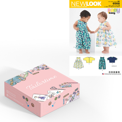 New look 6568 Age Newborn to Large Dress or Romper and Jacket Dressmaking Kit - Vera Fabrics