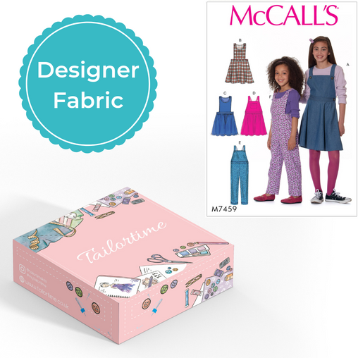 McCalls 7459 Designer Age 3 to 6 Dungarees or Dress Dressmaking Kit - Vera Fabrics