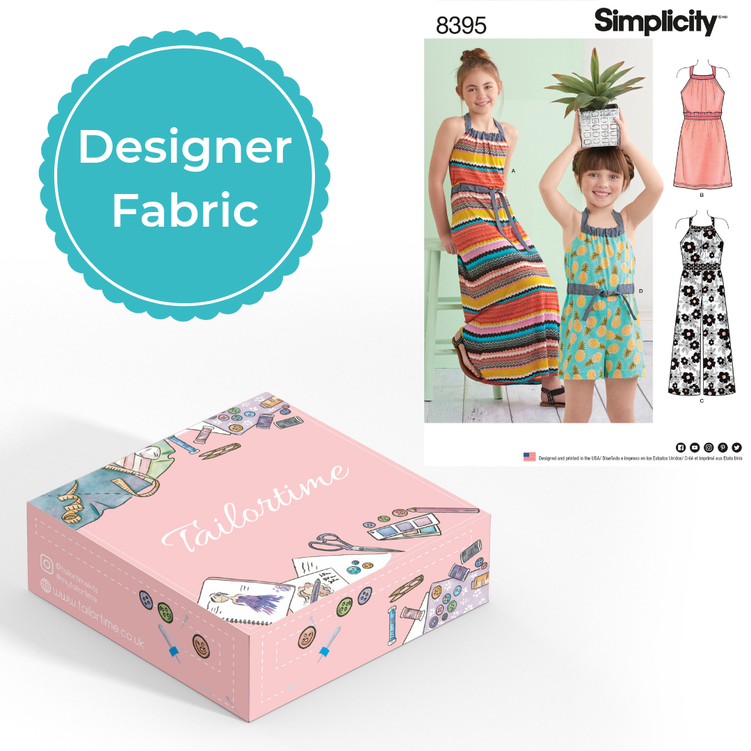 Simplicity 8395 Designer Age 3 to 6 Halter Dress or Romper Dressmaking Kit - Vera Fabrics