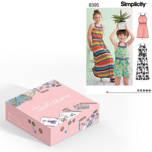Simplicity 8395 Age 3 to 6 Halter Dress or Romper Dressmaking Kit - Vera Fabrics