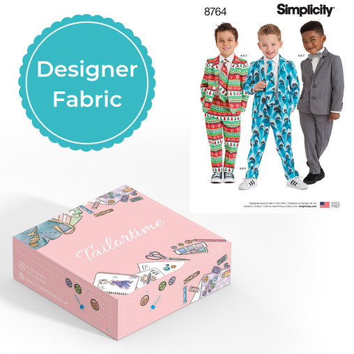 Simplicity 8764 Designer Age 3 to 8 Suit and Tie Set Dressmaking Kit - Vera Fabrics