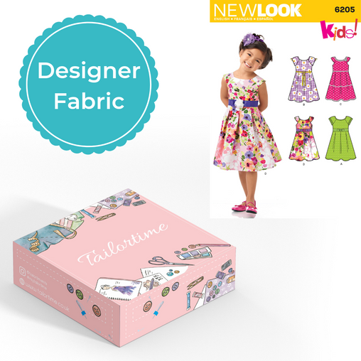 New look 6205 Designer Age 3 to 8 Dress Dressmaking Kit - Vera Fabrics
