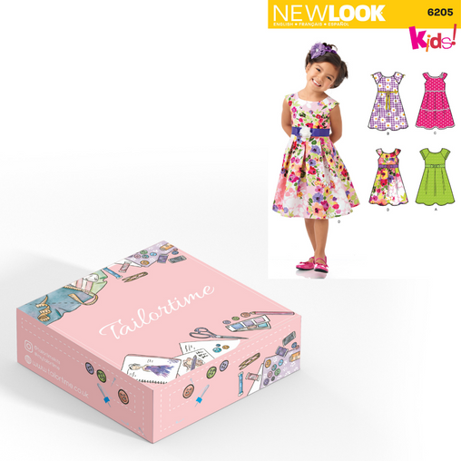 New look 6205 Age 3 to 8 Dress Dressmaking Kit - Vera Fabrics