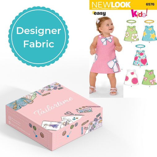 New look 6576 Designer Age Newborn to Large Dress and Headband Dressmaking Kit - Vera Fabrics
