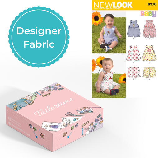 New look 6970 Designer Age Newborn to Large Romper or Dress and Panties Dressmaking Kit - Vera Fabrics