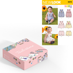 New look 6970 Age Newborn to Large Romper or Dress and Panties Dressmaking Kit - Vera Fabrics