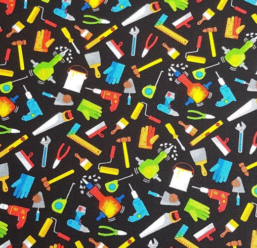 Mens Handyman Tools on Black Novelty Cotton Fabric - Vera Fabrics