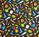 Mens Handyman Tools on Black Novelty Cotton Fabric