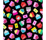 Colourful Love Letters on Black Cotton Fabric