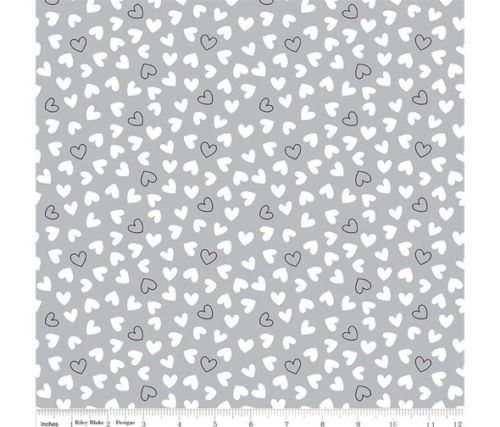 Delilah White & Grey Love Hearts Cotton Fabric - Vera Fabrics