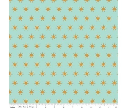 Mint Green with Gold Sparkle Metallic Stars Cotton Fabric - Vera Fabrics