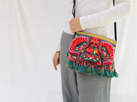 Vintage Hmong Embroidered Applique Purse