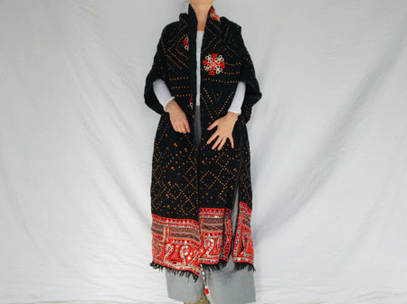 Vintage Rabari Wool Shrug. Embroidered, Mirrorwork