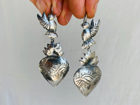 Sacred Heart Silver Earrings. Oaxaca . Mexico. Frida Kahlo
