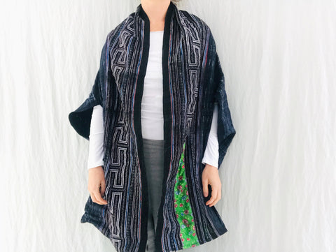 Vintage Hmong Indigo Wrap Shrug. Indigo Batik, Embroidered, Applique. Repurposed