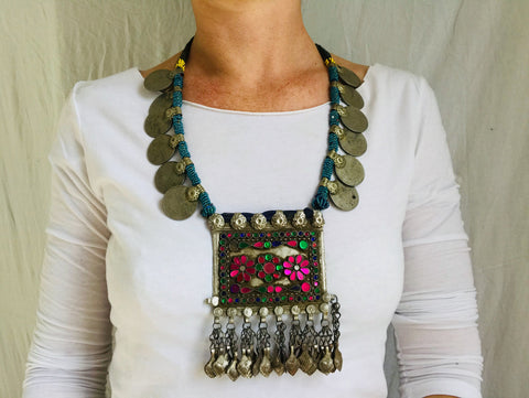 Balochi Coin Tribal Necklaces. Multi-Strand.