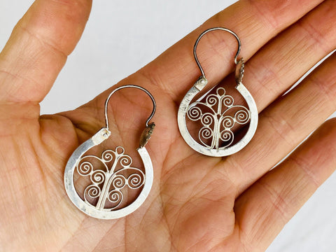 Filigree Earrings Hoops. Oaxacan. Sterling Silver. Mexico. Frida Kahlo