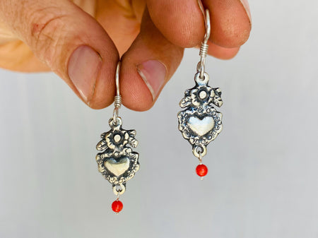 Oaxaca Silver Earrings. Sacred Heart. Mexico. Frida Kahlo