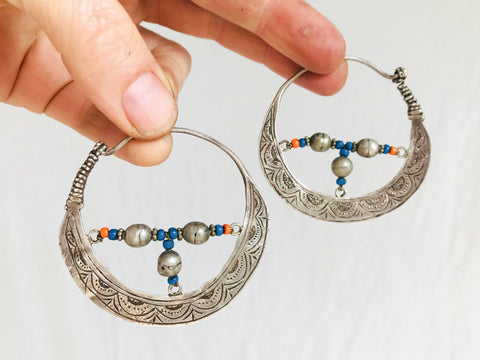 Vintage Uzbek Hoop Earrings. Bukhari Silver and Glass Earrings.