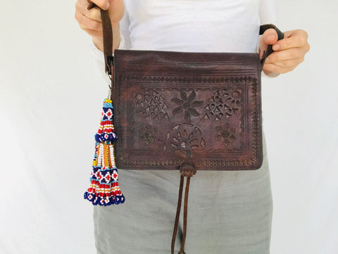 Vtg Moroccan Leather Purse Kuchi Beaded Tassels Handmade Morocco.
