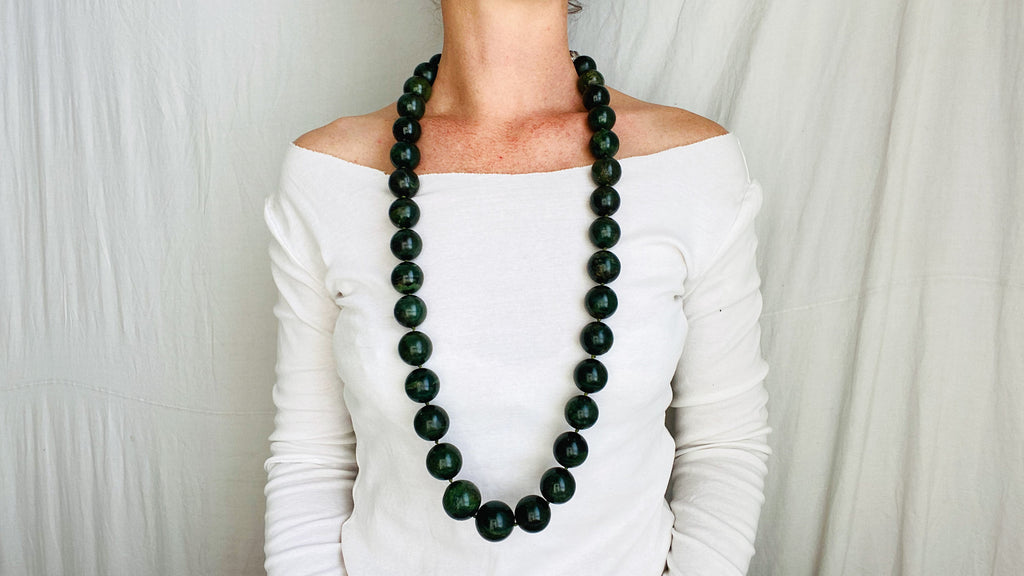 Long Serpentine Necklace. Dark Green. Large Spherical Beads.