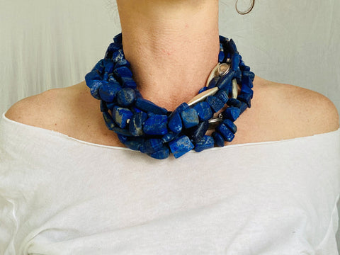 Lapis and Karen Silver Beaded Multistrand Necklace.