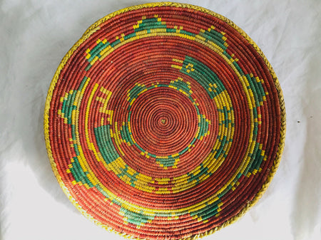 Kuchi Tribal Round Flat Basket.