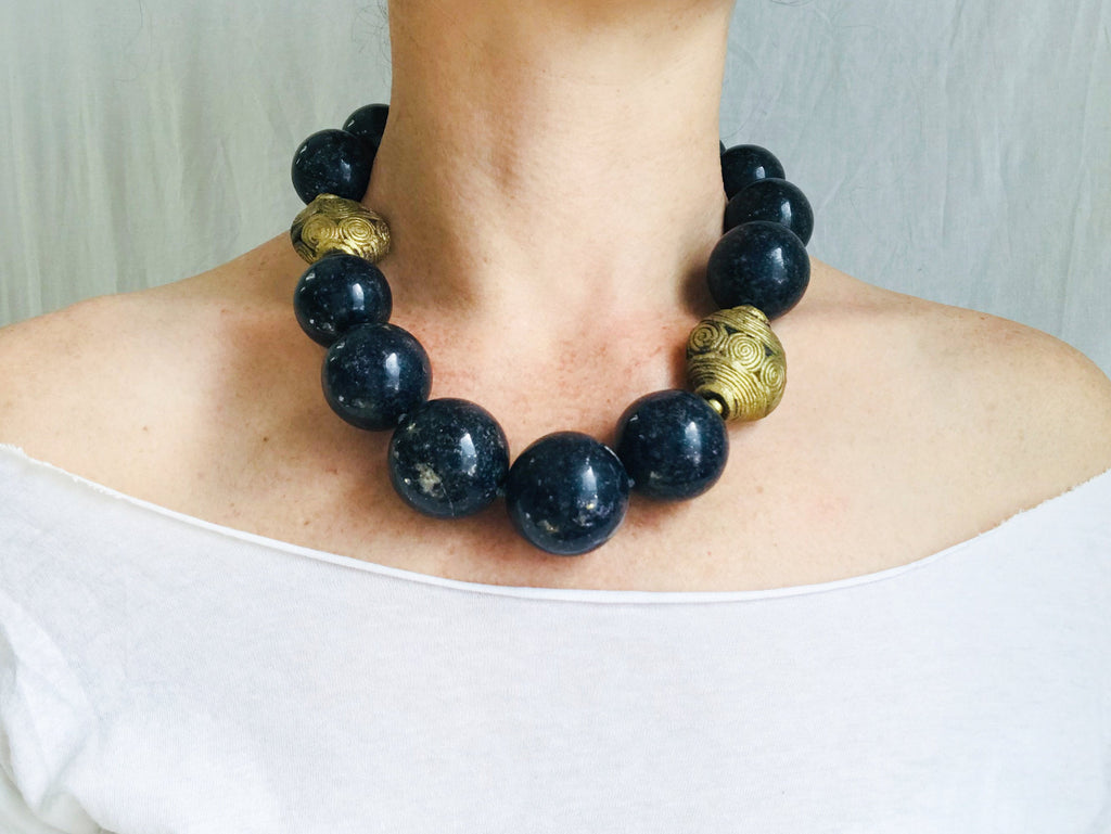 Lapis and Cameroon Brass Beaded Necklace. Lapis Lazuli