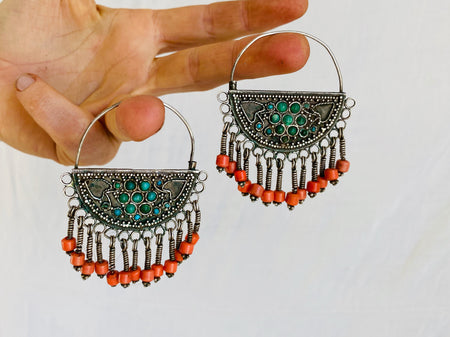 Vintage Uzbek Bukhara Earrings. Silver & Turquoise. Long Dangles