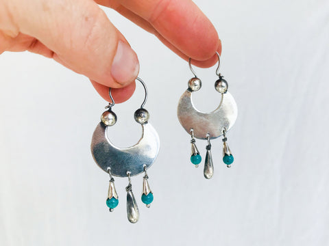 Vintage Oaxacan Earrings. Sterling Silver & Turquoise. Mexico. Frida Kahlo