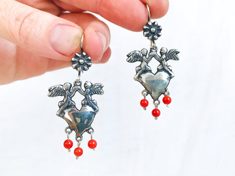 Mexican Corazon Earrings. Sterling Silver. Sacred Heart, Oaxaca. Frida Kahlo