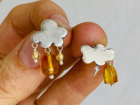 Cloud Earrings. Sterling Silver & Amber. Mexico.