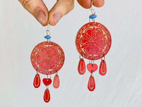 Carved Gourd Earrings. 925 Silver. Oaxaca, Mexico.