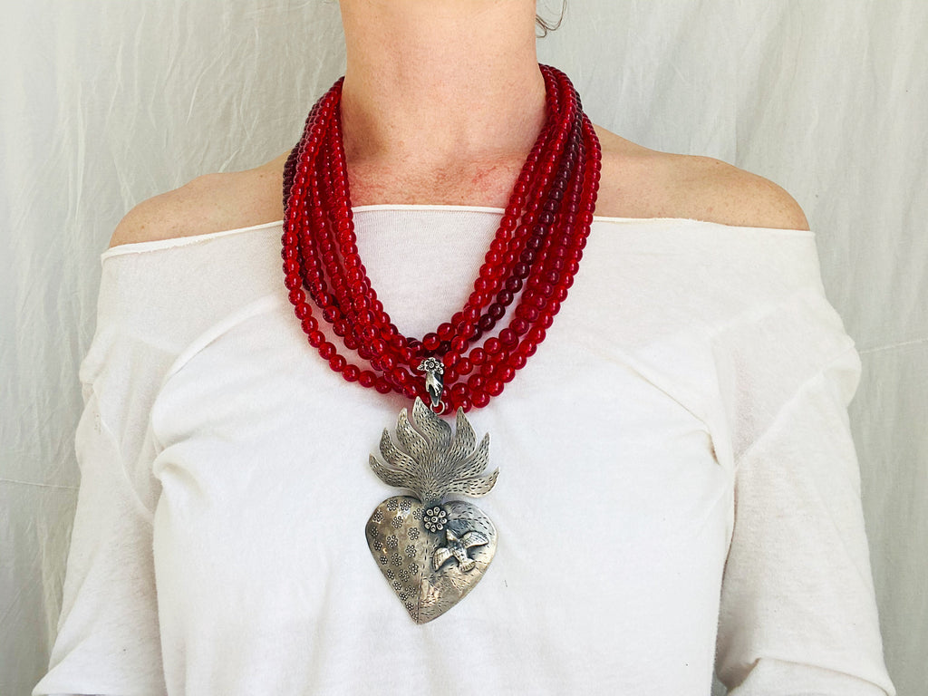 Mexican Sacred Heart Necklace. Antique Glass & Sterling Silver