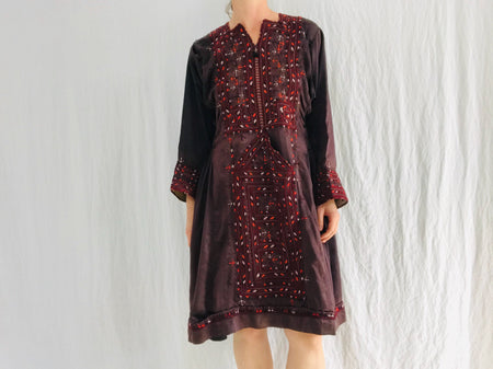 Vintage Traditional Balochi Hand-Embroidered Satin Dress. XS-S