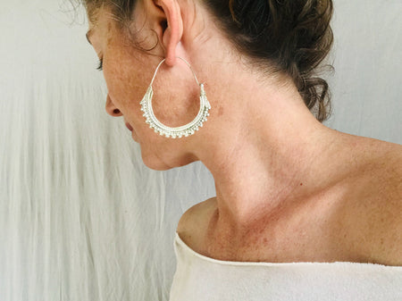 Large Afghan Hoop Earrings. Silver Plated