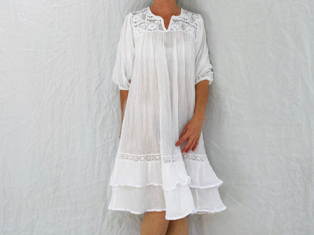 Mexican Gauze Dress. White Gauze. Crocheted Lace.