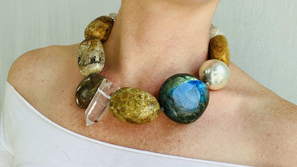 Labradorite, Ammonite, Fossilized Coral and Quartz Necklace.