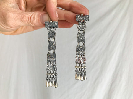Oaxacan Monte Alban Reproduction Earrings. Sterling Silver. Mexico. Frida Kahlo